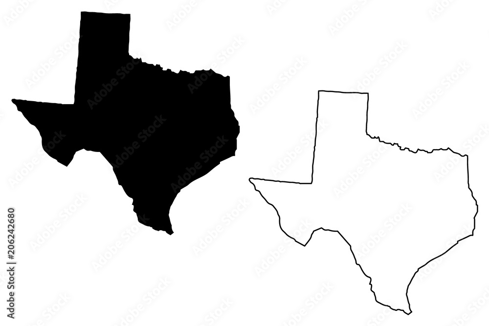 Fototapety, obrazy: Texas map vector illustration, scribble sketch Texas map