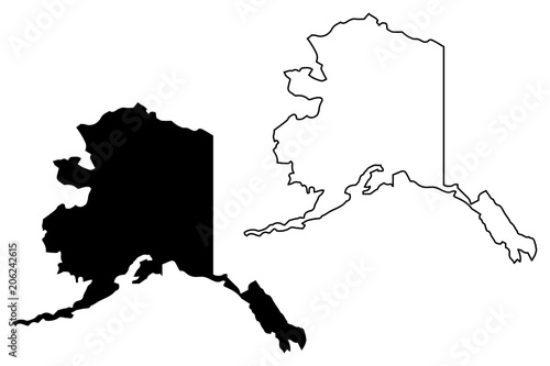 Alaska map vector illustration, scribble sketch Alaska map Wallpaper Mural