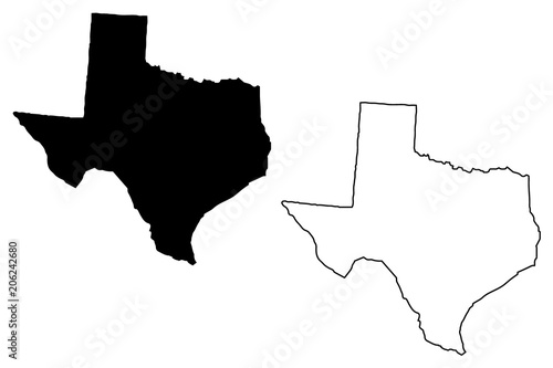 Fotografie, Obraz  Texas map vector illustration, scribble sketch Texas map