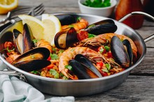 Spanish Seafood Paella With Mu...