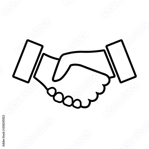 Handshake Line Icon Two Hands Shaking In Confirmation Of Business