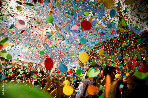 Canvas Prints Carnaval confetti falling during a festival or carnival in the city