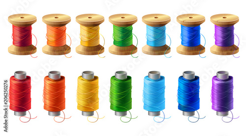 Vector realistic set of wooden and plastic bobbins, spools with colored thread isolated on background Canvas Print