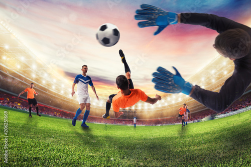 Staande foto Voetbal Soccer striker hits the ball with an acrobatic bicycle kick. 3D Rendering