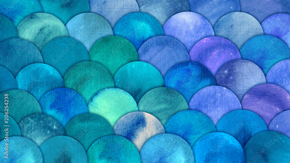Mermaid Scales Watercolor Fish squame background. Bright summer blue sea pattern with reptilian scales abstract
