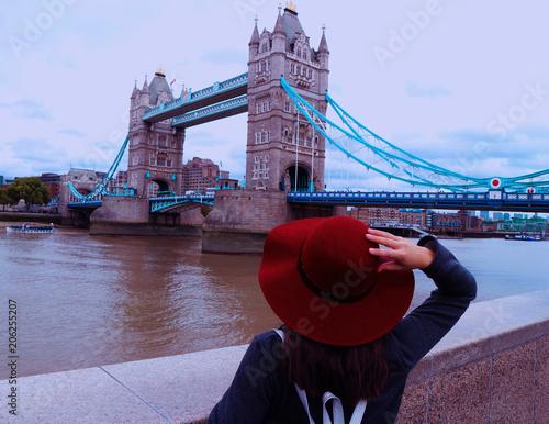 Woman watching Tower Bridge Wallpaper Mural