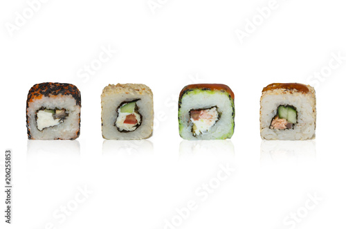 Photo sur Aluminium Sushi bar variants of different types of food