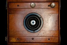 Frontal Vintage Rare Wooden Camera Projecting Light From The Inside