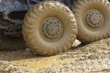 Truck wheels in mud