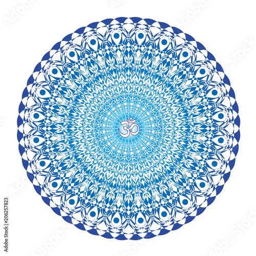 Openwork white-blue mandala with a sign of Aum (Om, Ohm) on a white background Canvas Print