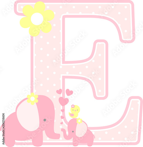Initial E With Cute Elephant And Little Baby Isolated On White Can Be Used
