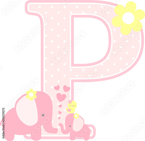 Initial P With Cute Elephant And Little Baby Isolated On White Can Be Used