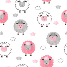 Seamless Watercolor Cute Sheep Pattern. Vector Background For Kids.
