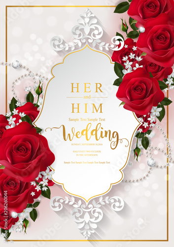 Fototapeta Wedding Invitation Card Templates With Realistic Of Beautiful Red Rose And Flower On Background Color
