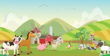 Illustration Of Happy Farm Ani...