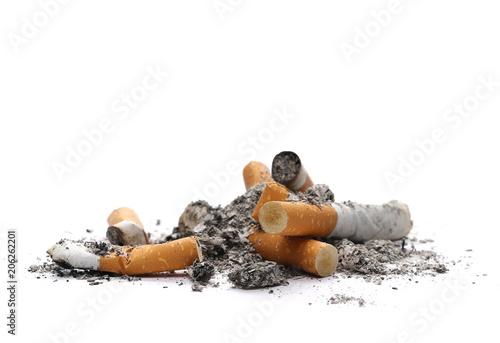 Fototapeta  Cigarette butts, stubs isolated on white
