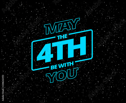 May the 4th be with you - holiday greetings vector illustration - neon blue glow Canvas Print