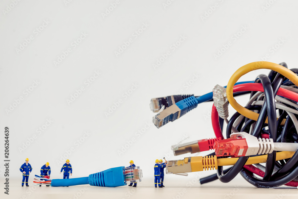 Fototapety, obrazy: Tangled bunch of network cables