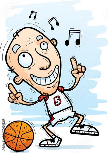 Fotobehang Cartoon draw Cartoon Senior Basketball Player Dancing