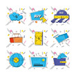 shopping online pop art set icons vector illustration design