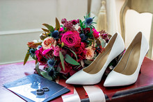 White Wedding Shoes Bride, Wedding Rings And Bouquet