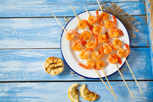 Grilled Shrimp Skewers On Wood...