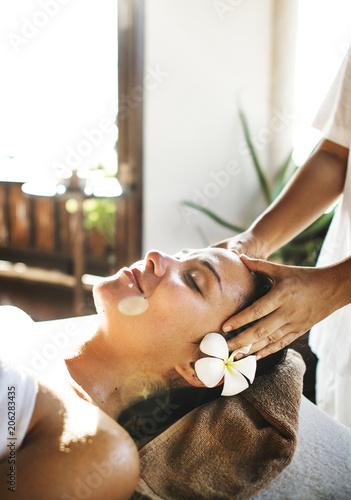 Fotobehang Wintersporten Woman relaxing from a spa treatment