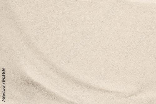 Beach sand texture background. Flat lay, top view, copy space  - fototapety na wymiar