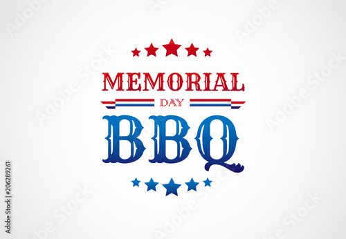 memorial day bbq barbeque sign invitation vector logo buy this