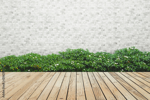 Fotomural bush brick wall and wood floor background