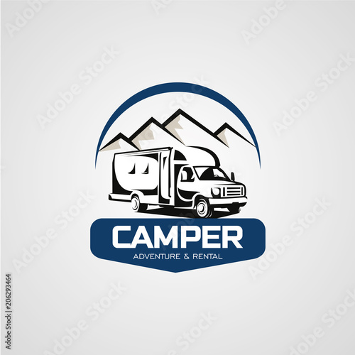 Adventure RV Camper Car Logo Designs Template - Buy this