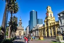 Historic Buildings In The Plaza De Armas, Santiago, Chile