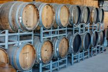 Wooden Wine Cask In A Cellar