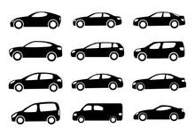 Set Of Twelve Black Car Silhouettes On A White Background. Vector Illustration.