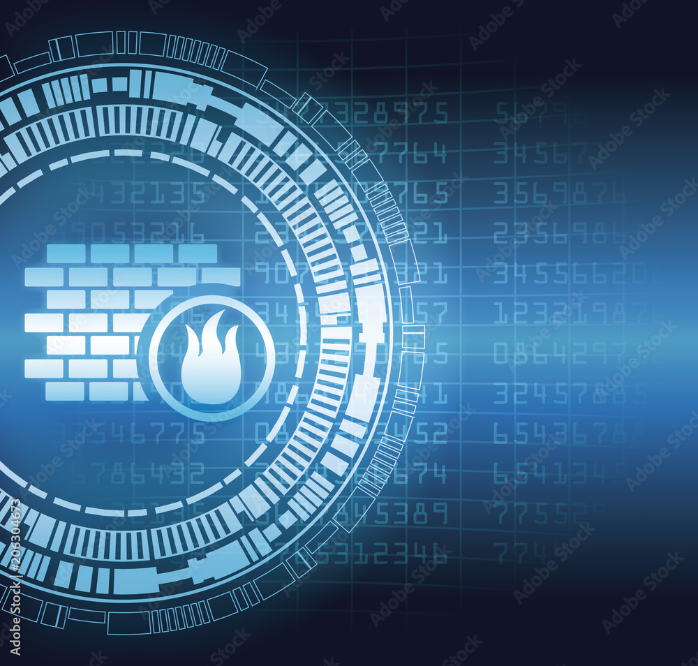 Fototapeta Firewall security system symbol blue digital concept vector illustration graphic design