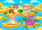 Fototapeta Child room - Baby cute Jungle animals in a natural landscape