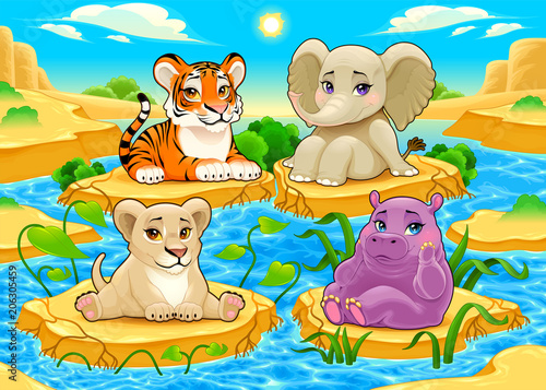 Papiers peints Chambre d enfant Baby cute Jungle animals in a natural landscape