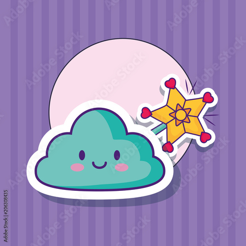 Fotografie, Obraz  kawaii cloud and magic wand over purple background, colorful design
