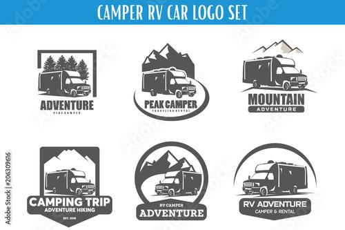 rv camper adventure logo designs template set buy this stock
