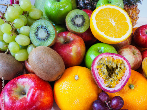 Poster Fruit Colorful fresh fruits and vegetables background, healthy eating concept.