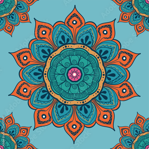 Valokuvatapetti Flower mandala colorful background for cards, prints, textile and coloring books
