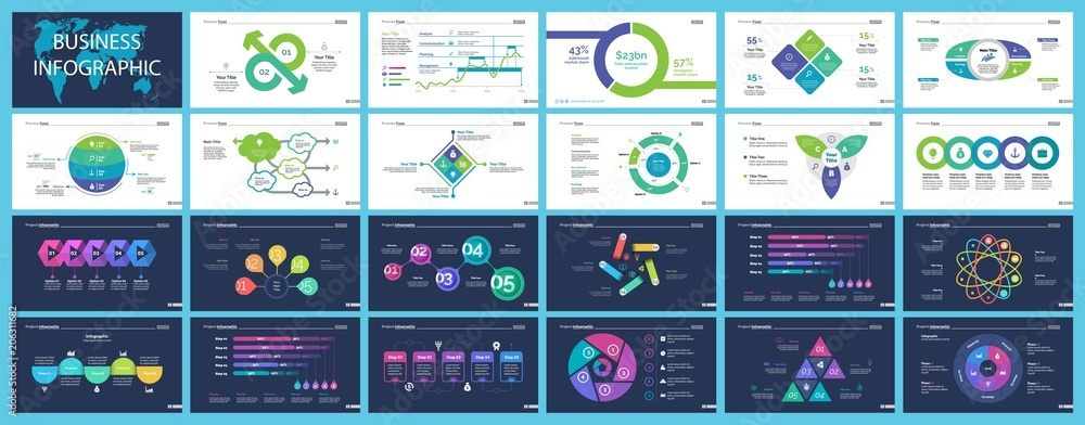 Valokuva Set of financial analysis concept infographic charts
