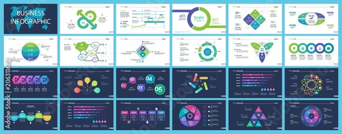 Set of financial analysis concept infographic charts Wallpaper Mural