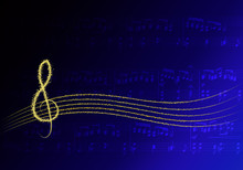 Musique Or Sur Fond Bleu