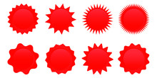 Set Of Red Sale Star Tag, Retro Blank Starburst, Sunburst Badges. Vector Illustration.