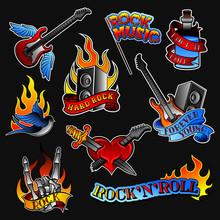 Vector Set Of Rock Tattoos. Bo...