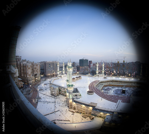 Prayer and Tawaf  - circumambulation - Around AlKaaba in Mecca, Aerial View
