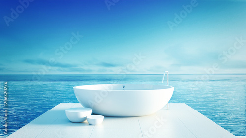 Foto  Beach bathroom - Luxury and modern hotel / 3D render interior