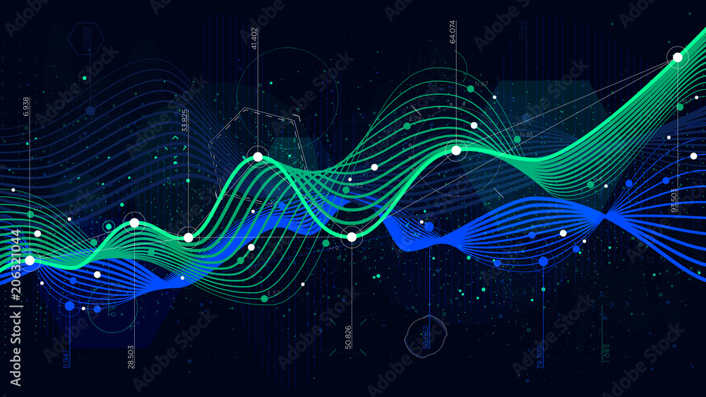 Fototapety, obrazy: Statistics big data, analytical indicator sci-fi background