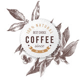 Coffee paper emblem - 206321600
